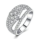AmDxD Jewelry Silver Plated Women Customizable Rings Hollow Width Full of CZ Camber