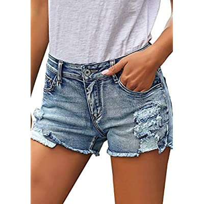ACKKIA Womens Hot Shorts Summer Mid Rise Frayed Ripped Stretchy Denim Jean Short at Women's Clothing store