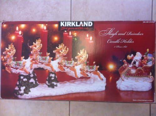 Kirkland Santa Sleigh and Reindeer Candle Holder 2 Piece Set Ceramic