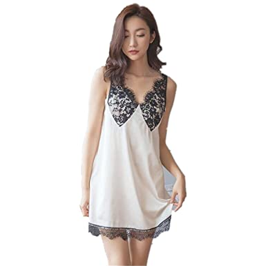 80e10f32678a Summer White Lace Short Sexy Sleeping Dress Woman Skirt Sling Extreme Lure  Silk (L(Height 170-175cm,Weight 63-75kg)