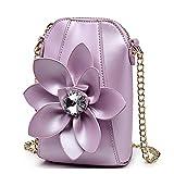Eleoption Girls Wallet Coin Purse Super Cute With 3D Flower Crossbody Handbag Pu Leather Small Messenger Bag Satchel for Women Teen Girls Little Kid Girls as Gift (Purple)