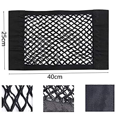 ZKSM 2 Pack Car Storage Net Trunk Back Seat Organizer with Mesh Universal Cargo Net Wall Sticker Organizer Pouch Bag for Car and House Organize, Black