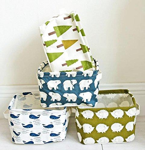 PUTING Set of 4 Pack Storage Basket Bins, Home Decor Canvas Organizers Bag, Storage Bins Basket for Adult Makeup, Baby Toys liners, Books -