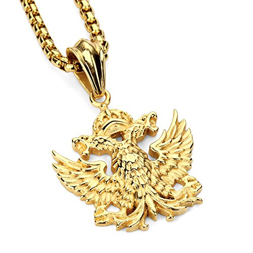 JAJAFOOK Unisex Steel Russian Military Army Double-Headed Imperial Eagle Pendant Necklace,Free (Double Headed Nickel)