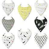 """HnyBaby Baby Bandana Drool Bibs for Boys and Girls 8 Pack """"Oreo and Honey"""" Organic Cotton with Adjustable Snaps, Drooling and Teething Bib Unisex Gift Set"""