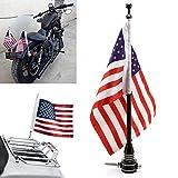 Universal Motorcycle American USA Flag + Flagpole Mount Luggage Rack Fender For Harley Sportster Fatboy Dyna Softail V-ROD Cafer Chopper Bobber Touring Electra Street Road Glide Road King(Black)