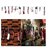 MZYARD Bloody Splatter Halloween Horror Scary Metallic Butcher Knife Chainsaw Weapon Killer Tools Garland Party Decoration Haunted House Banner 7.5 ft Long