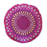 Vivai Home Purple Spirograph Pattern Wool Cotton Feather 24 Round Pillow
