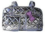 Silver Quilted Dog Carrier - Medium