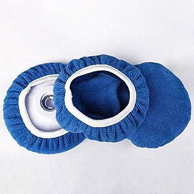 ZYTC Car Polishing Waxing Sleeve Polisher Pad Bonnet Microfiber Pad Soft Pack of 5 (Dark Blue, 9