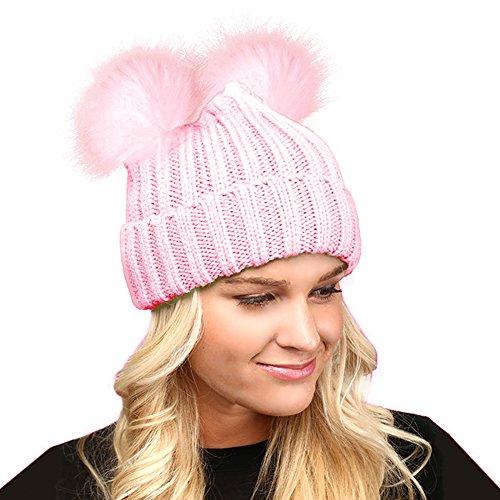 Fashion21 Women's Winter Chunky Knit Beanie Hat with Double Faux Fur Pom Pom Ears (Pink Pom Pom)