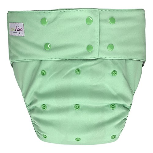 EcoAble Teen & Adult Incontinence Cloth Diaper with Charcoal Bamboo Insert Pad, One Size (Green) - Adult Cloth Diaper