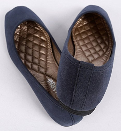 Sfnld Donna Classica Punta Quadrata A Taglio Basso Slip On Ballet Shoes Blu Scuro