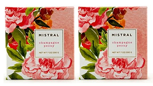 Mistral Soap Sparkling Peony - 2 bars, 200 Grams each (Peony Soap Bar)
