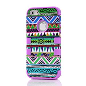 iPhone 5 5s Case,Hybrid Layer Long Lifetime Armor Shockproof Case-Green Stripe Temple Tribe Soft Silicone Defender Back Purple Internal Full Body Bumper Box Case Cover For iPhone 5 5S