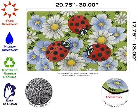 Toland Home Garden Flowers Ladybugs 18 x 30 Inch Decorative Ladybug Floor Mat Daisy Flower Doormat