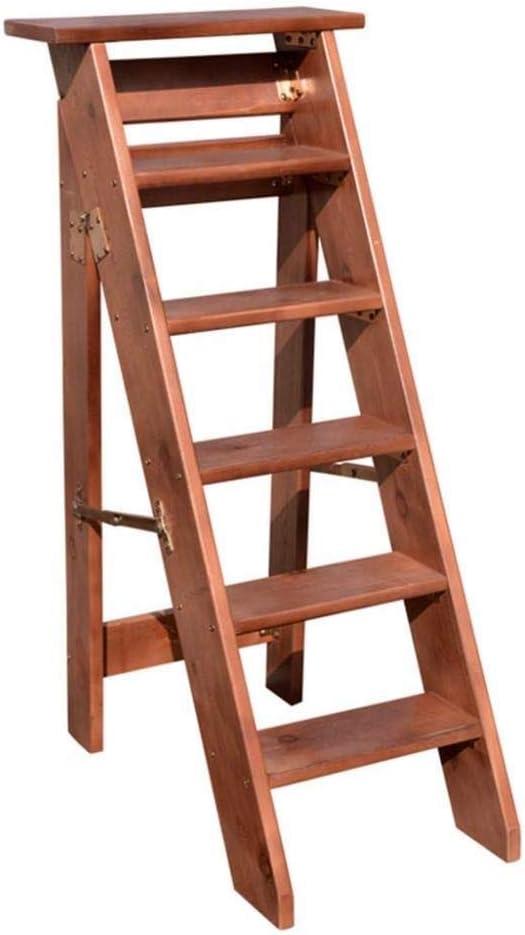 XITER Escaleras Plegables de 6 peldaños, escaleras de Tijera de Madera Taburete Silla de Escalera Robusta con Pedal Ancho