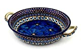 Polish Pottery Round Baker with Handles 10-inch Cobalt Poppies UNIKAT