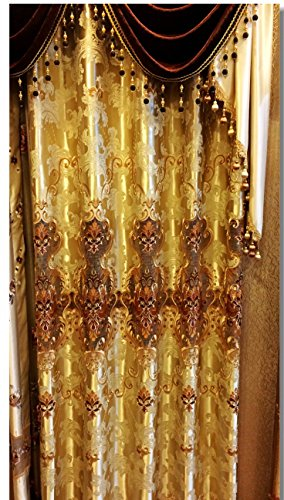 AIRDODO European Decorative Style Metallic Gold Embroidered Grommet top 56-inch By 84-inch Curtain (One Panel) (No Valance)