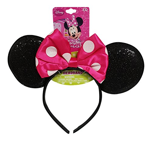 Minnie Mouse Costumes Teens (Genuine UPD Minnie Mouse Sparkled Ear Shaped Headband with Hot Pink Bow Disney Official Licensed (1 piece))