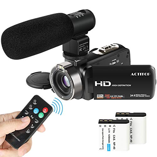Video Camcorder,ACTITOP 1080P FHD Camcorder 24MP 16X Digital Zoom Video Camera 3.0inch Screen Face Detection LED Light Camcorder Camera with External Microphone,Remote Control,2 Batteries