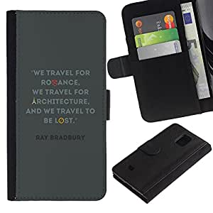 iKiki Tech / Cartera Funda Carcasa - Travel Architecture Quote Bradbury Ray - Samsung Galaxy S5 Mini, SM-G800, NOT S5 REGULAR!