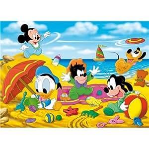Clementoni 25421.7 - Puzzle de 40 piezas de bebés Disney jugando en la playa