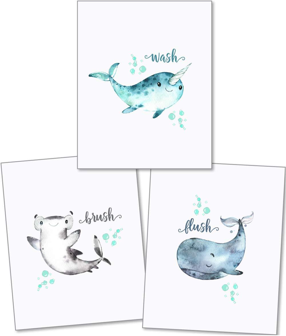Confetti Fox Dolphin Shark Whale - Kids Bathroom Art - Wash Brush Flush - 8x10 Unframed Set of 3 Prints - Baby Sea Animals Decor