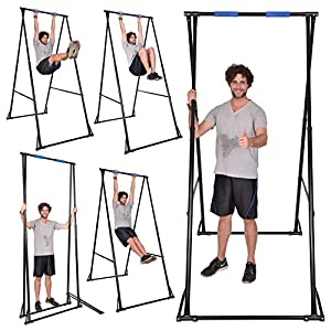 KT KHANH TRINH Free Standing Pull Up Bar Indoor Outdoor KT1.1520 Foldable Portable Adjustable Pullup Tower for Home Gym & Perfect Back Stretcher for Effective Treatment of Lower Back Pain, Sciatica