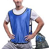 SportsRepublik Pinnies Scrimmage Vests (12-Pack) | Multiple Colors Practice Jerseys | Kids, Youth or Adult Sizes | Blue Large