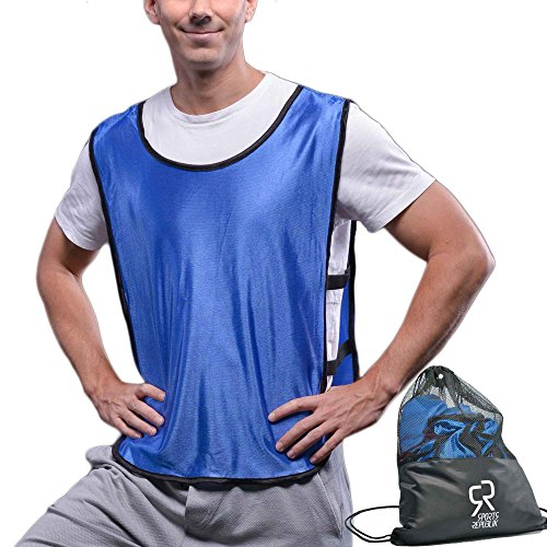 Sports Pinnies Practice Jersey Vests - (12-Pack) | Multiple Colors Scrimmage Vests | Kids, Youth or Adult Sizes | Ventilated & Flexible Straps | Blue XL by SportsRepublik - Team Football Jerseys For Men