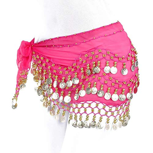 REINDEAR Vogue Style Chiffon Dangling Gold Coins Belly Dance Hip Scarf US Seller (Hot ()