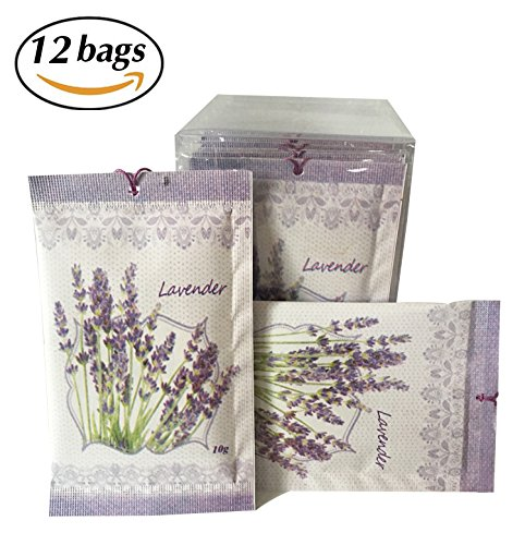 Lavender Scent Sachets Pack of 12 | Deodorizer, Moth Repellent for Closet Drawers or Cloakroom by JTHM