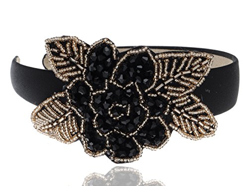 Alilang Intricate Design Single Black Bead Flower Golden Bead Leaves Fashion Headband]()