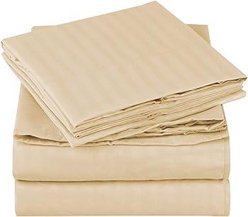 Mellanni Striped Brushed Microfiber 1800 Bedding Bed Sheet Set