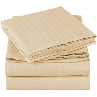 Mellanni Striped Bed Sheet Set Brushed Microfiber 1800 Bedding - Wrinkle, Fade, Stain Resistant - 4 Piece (King, Beige)