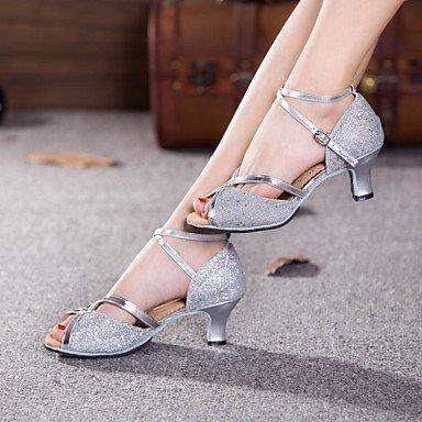 XIAMUO Nicht anpassbare Damen Tanzschuhe Latein Paillette Cuban Heel Outdoor mehr Farben, Silber, Us5.5/EU36/UK3.5/CN 35