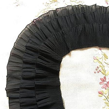 Black 2 Yards 12cm Width 3-Layer Tiered Ruffle Pleated Chiffon Lace Fabric
