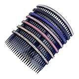 "Casualfashion Women 24 Teeth Hair Comb Pin Clip Double Rows Rhinestone Hair Side Combs 4.72"" Length, 5-count"