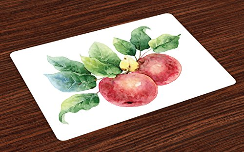 Ambesonne Apple Place Mats Set of 4, Watercolor Art Style Branch with Green Leaves and Ripe Organic Fruits, Washable Fabric Placemats for Dining Room Kitchen Table Decor, Dark Coral Green White