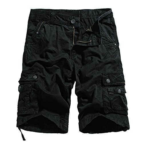 OCHENTA Men's Cotton Lesuire Multi Pockets Cargo Shorts Black 40 by OCHENTA