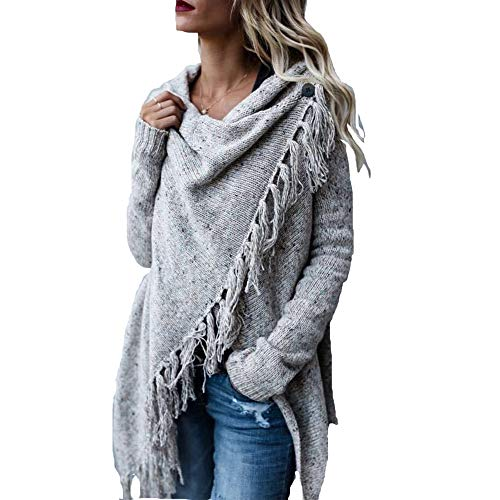 TRAIPAINK Womens Sweaters Casual Cowl Neck Knit Wrap Pullover Asymmetric Hem Sweater Coat with Button (Light Grey, X-Large)