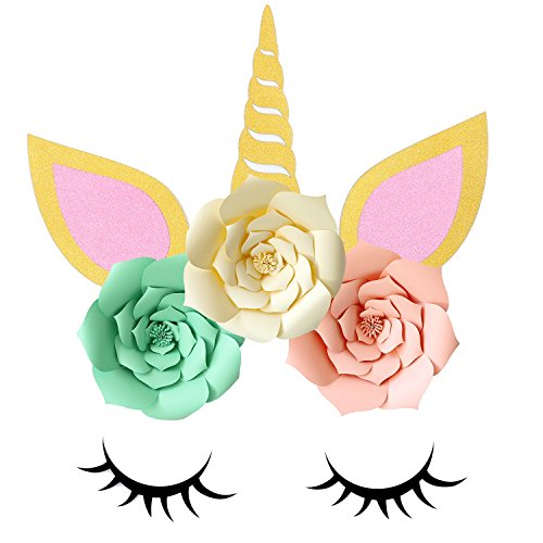 Unicorn Face - Sakolla Large Unicorn Paper Flower Decorations - DIY Unicorn Backdrop Decorations Backdrop for Kids Birthday Party Baby Shower