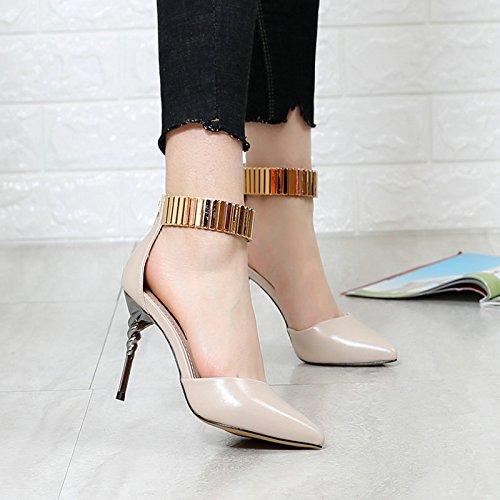 Spring Work Head Shoes Beige Heel Leisure Shallow High One Buckle Elegant Women Word Heel Shoes Sharp 34 Single Fine Shoes MDRW Lady Hollow 9Cm qEwfII