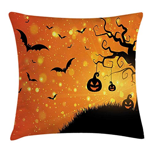 K0k2t0 Halloween Throw Pillow Cushion Cover, Magical Fantastic Evil Night Icons Swirled Branches Haunted Forest Hill, Decorative Square Accent Pillow Case, 18 X 18 inches, Orange Yellow Black -