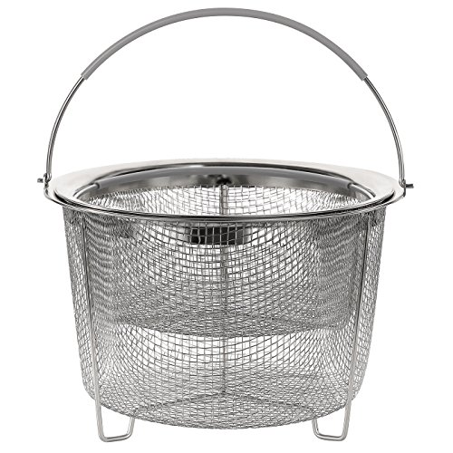 Aoizta Double Tier Stackable Steamer Basket for Instant Pot Accessories 6/8 qt, 18/8 Stainless Steel Mesh Strainer Basket for Vegetables, Eggs, Meats, etc by Aozita