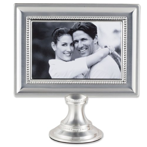 Lawrence Frames 4 by 6-Inch Brushed Silver Plated Metal Pedestal Picture Frame with Bead Design