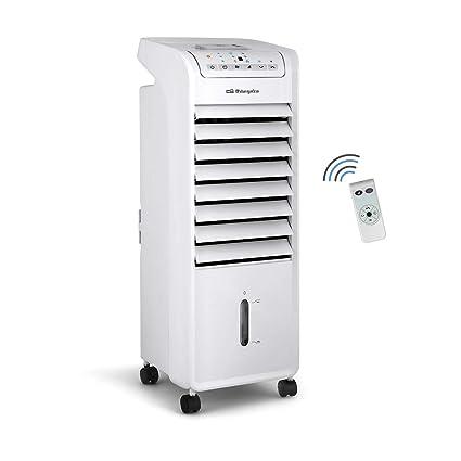 Orbegozo AIR 46 - Climatizador portátil evaporativo 3 en 1: ventilador, climatizador y humidificador, 3 velocidades, temporizador de hasta 7 horas, mando a distancia, silencioso, 55W de potencia