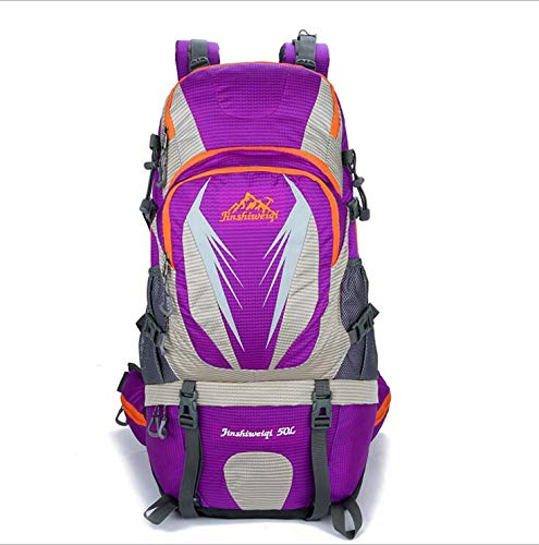 Purple Jiuyizhe Hiking Backpack Travel Daypack Waterproof with Rain Cover for Camping Mountaineering (color   orange)