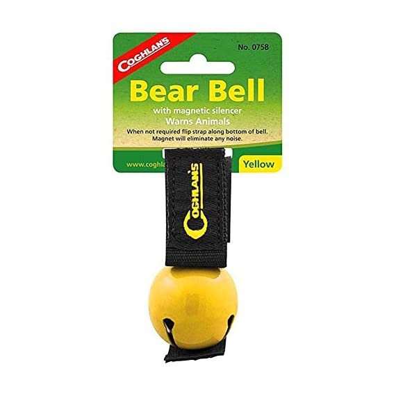 "Coghlan's Yellow Bear Bell Metal w/ Magnetic Silencer 1 Magnetic Bear Bell Bell Measures 1 1/2"" Diameter Magnetic Strap Silences Bell When Not In Use"